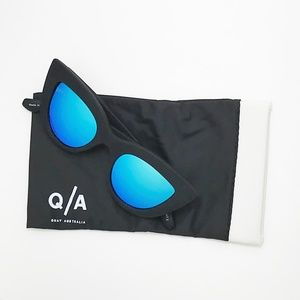 Quay Kitti Flat Black Mirrored Cat Eye Sunglasses